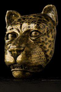 "Title: ""Mascarón de Jaguar"". Year: 2016. Artist: Emerson Chicol. Medium: Casting in marble powder. Contact number: 4962 1713. Facebook: esculturas chicol"