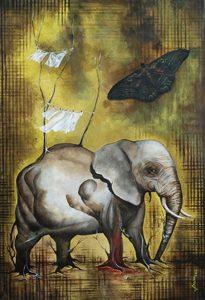 """Title: """"Las cosas pendientes"""". Series: """"El arte no se explica"""". Year: 2014. Medium: Acrylic on watercolor paper. Dimensions: 81 x 61 cms. Contact: www.javiercarcamo.com"""